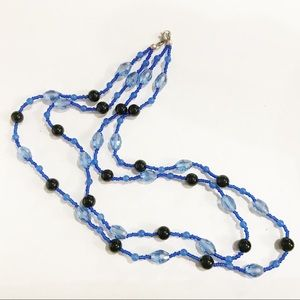 Artisans Blue Beaded Double Strand Necklace